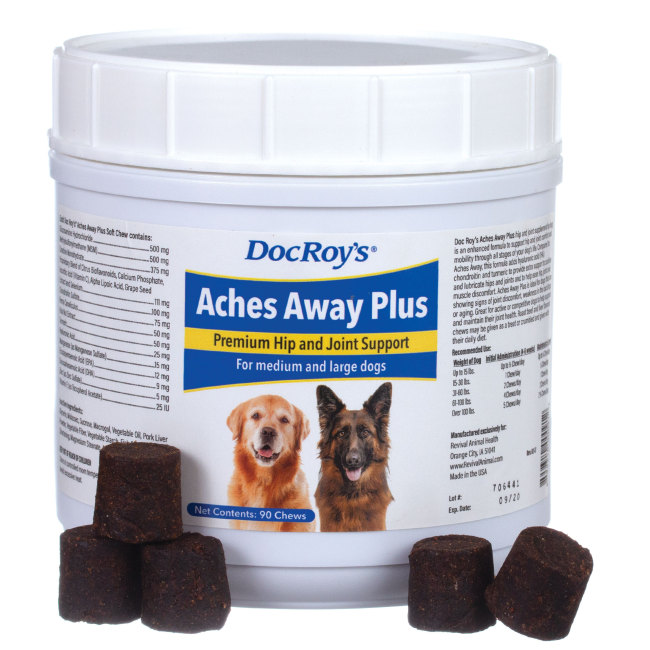 Doc Roys Aches Away Plus 90 ct Regular Chew