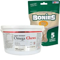 Omega Chews for Medium  Large Dogs 150 Soft Chews  FREE BONIES Skin  Coat Health MultiPack LARGE 5 Bones