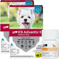12 MONTH K9 Advantix II TEAL for Medium Dogs 1120 lbs  Tapeworm Dewormer for Dogs 5 Tablets