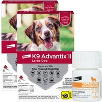 12 MONTH K9 Advantix II RED for Large Dogs 2155 lbs  Tapeworm Dewormer for Dogs 5 Tablets