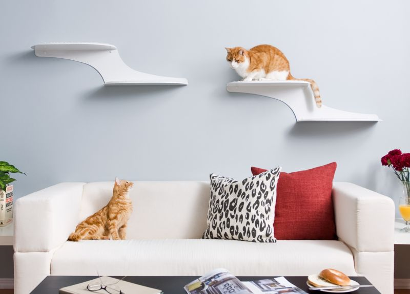 Refined Feline Cat Clouds Cat Shelf Right White