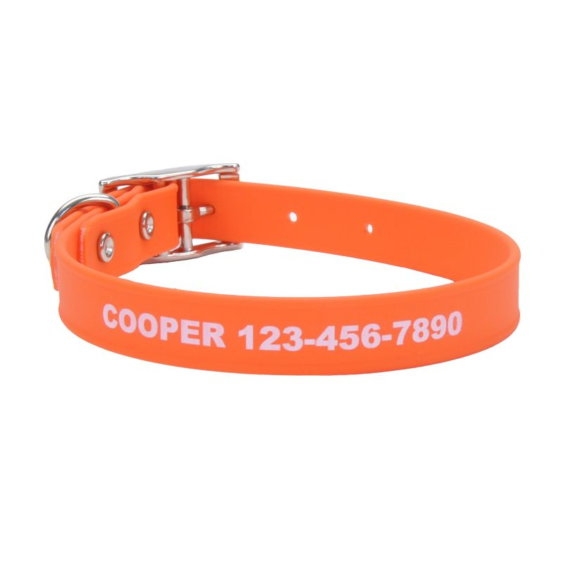 Personalized Waterproof Dog Collar Large Orange
