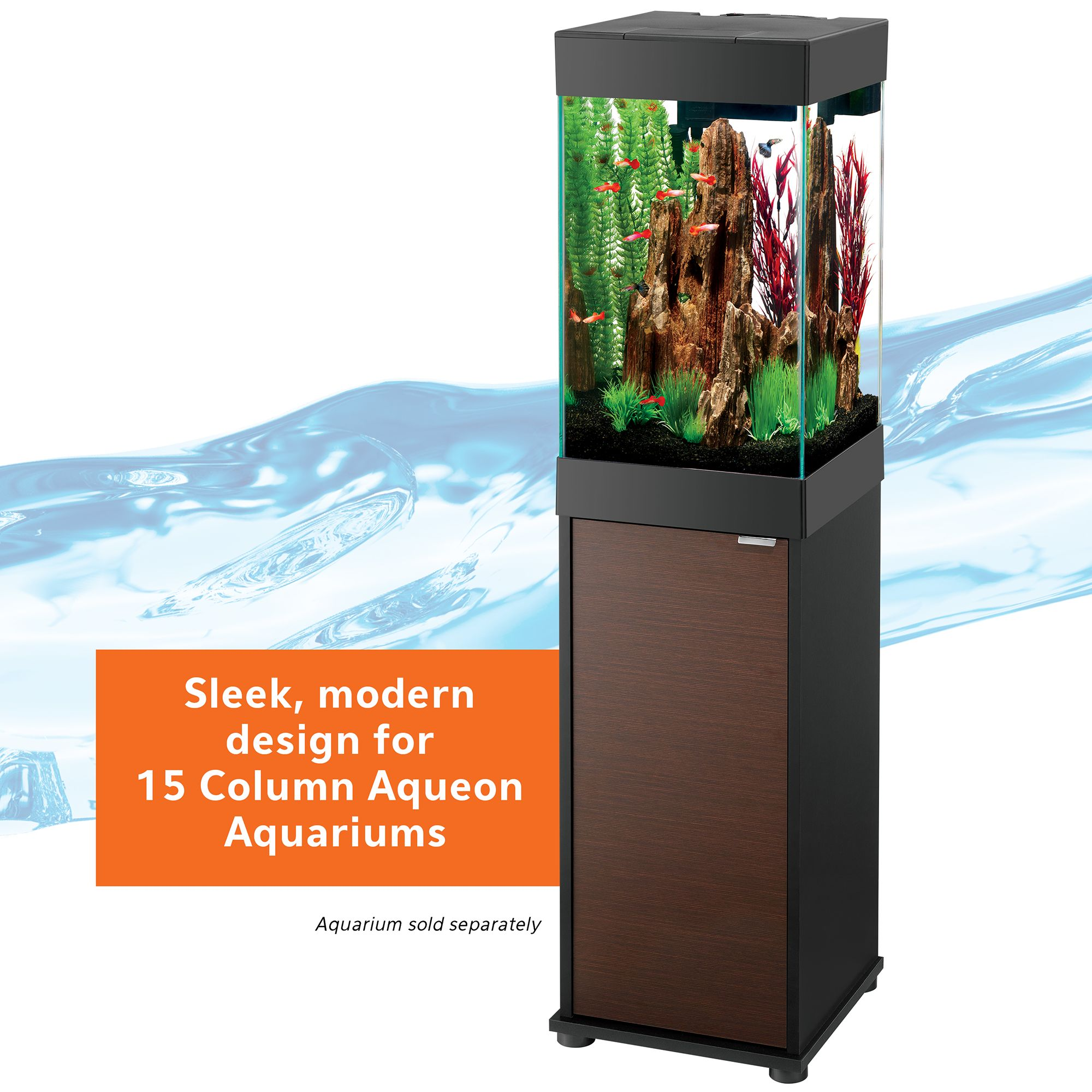 Aqueonreg 15 Gallon Column Aquarium Stand size 15 Gal Brown