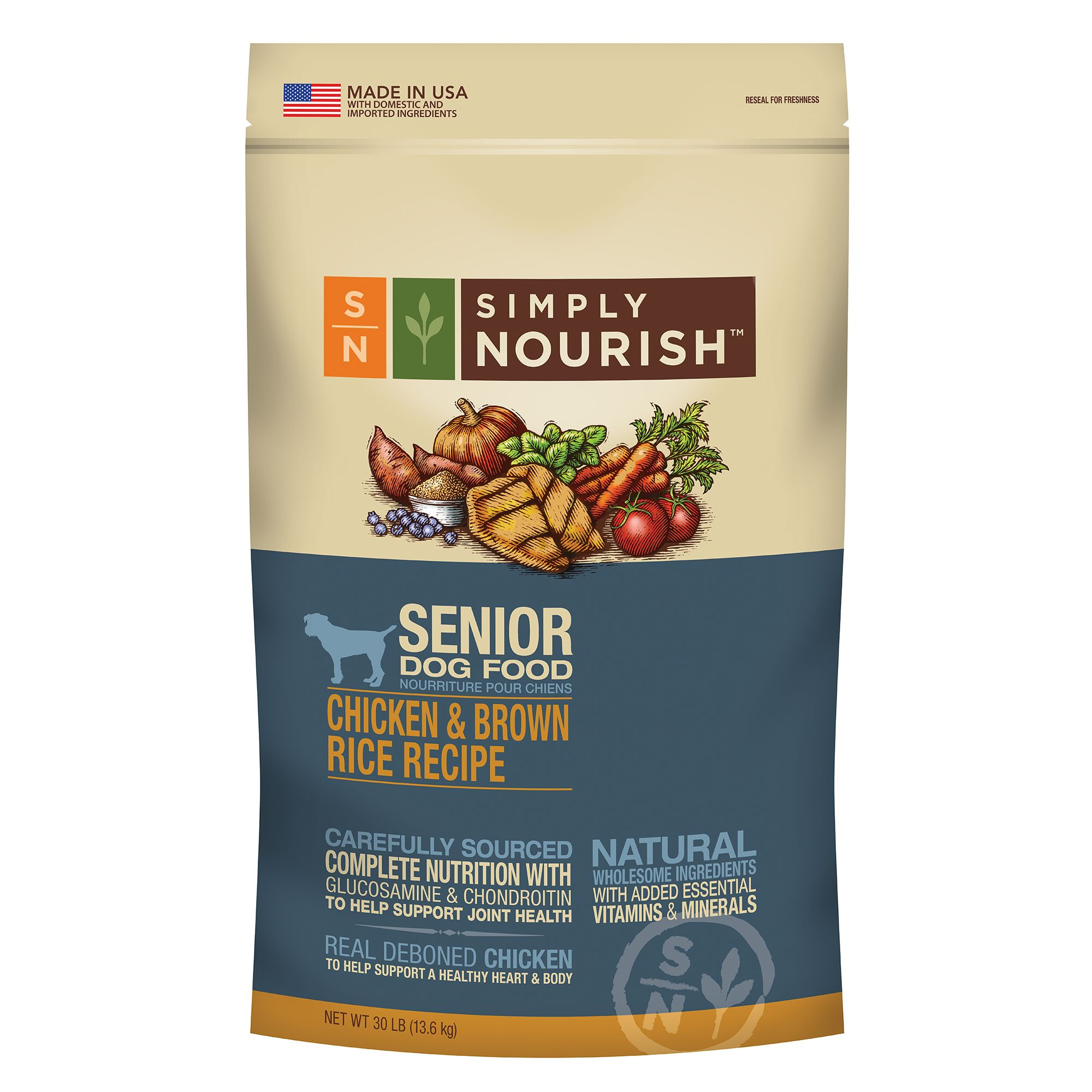 Simply Nourish Senior Dog Food  Natural Chicken and Brown Rice size 30 Lb