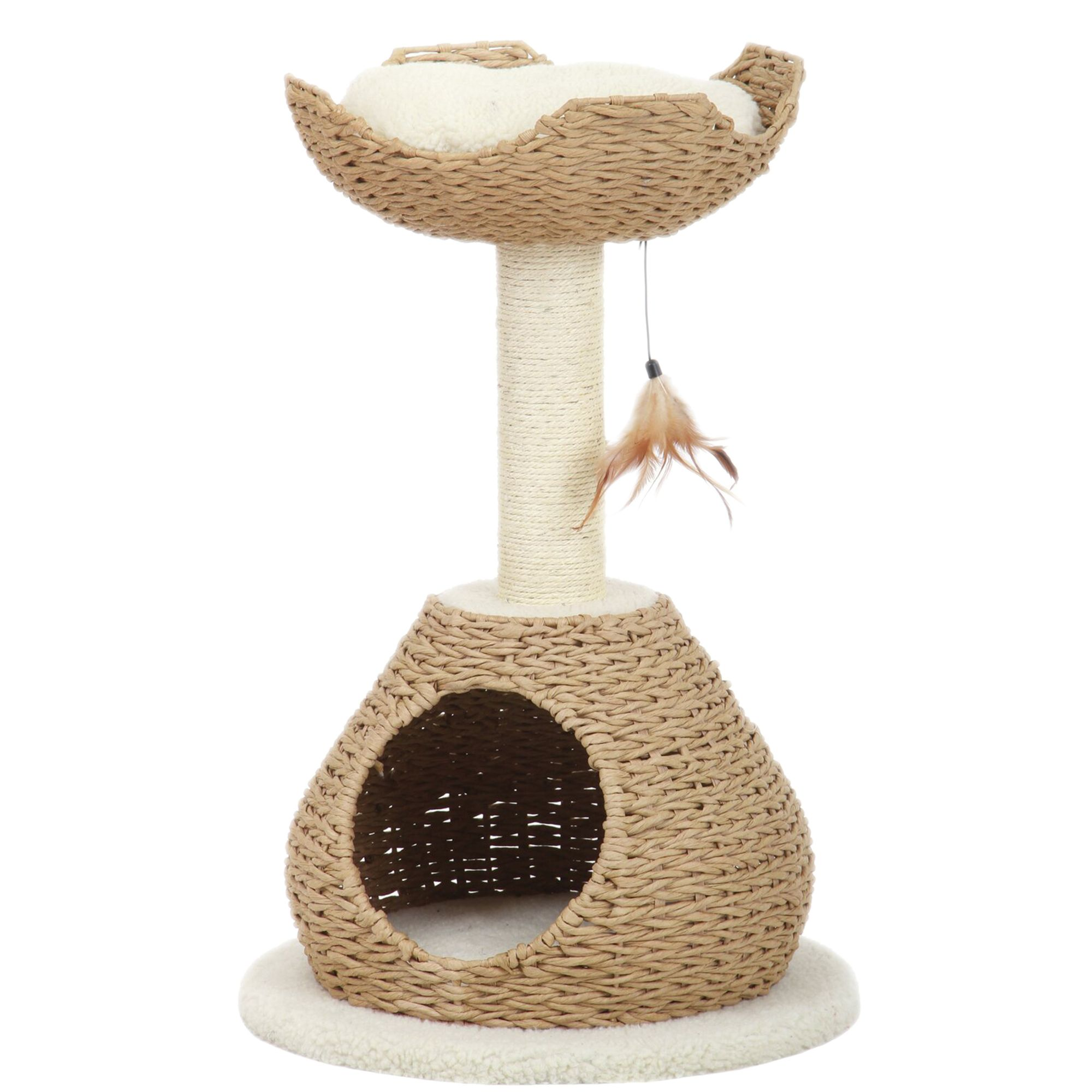 Pet Pals Walk Up Condo and Perch Cat Tree Cream  Brown
