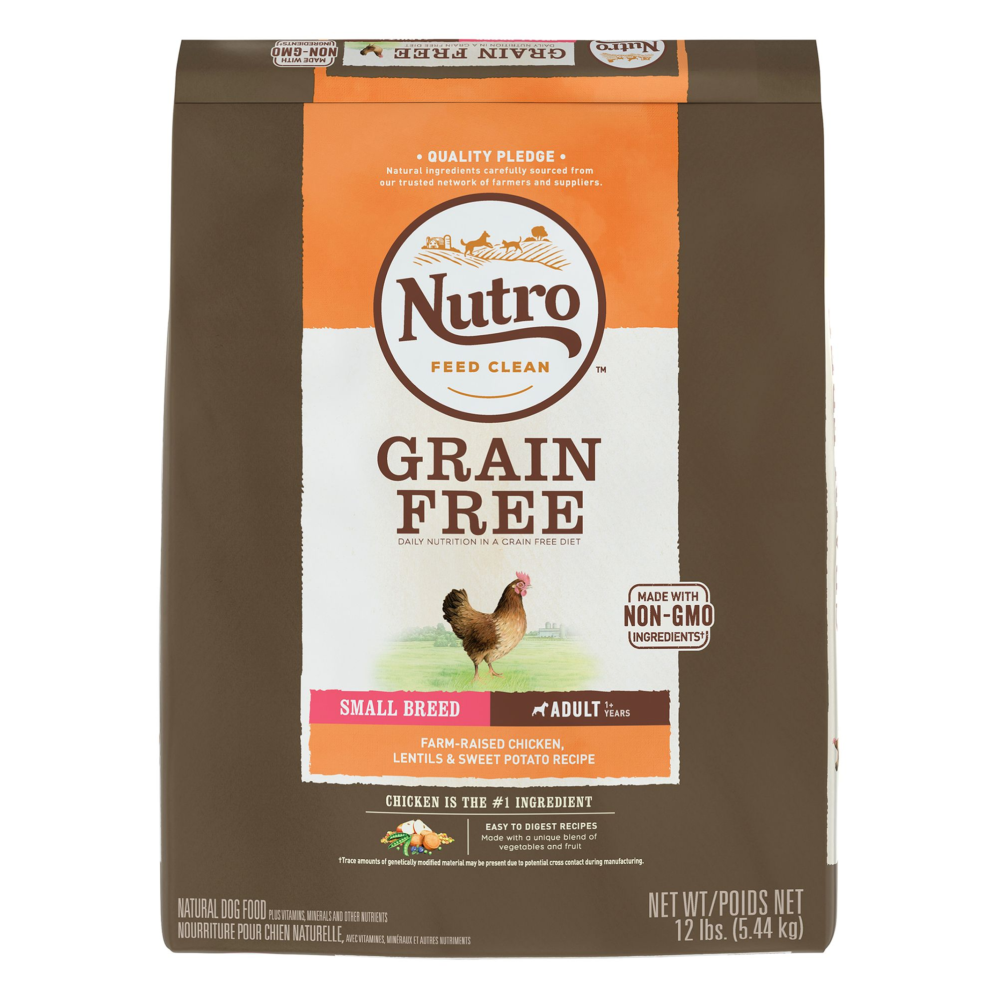Nutroreg Grain Free Small Breed Adult Dog Food  Chicken and Lentils size 12 Lb