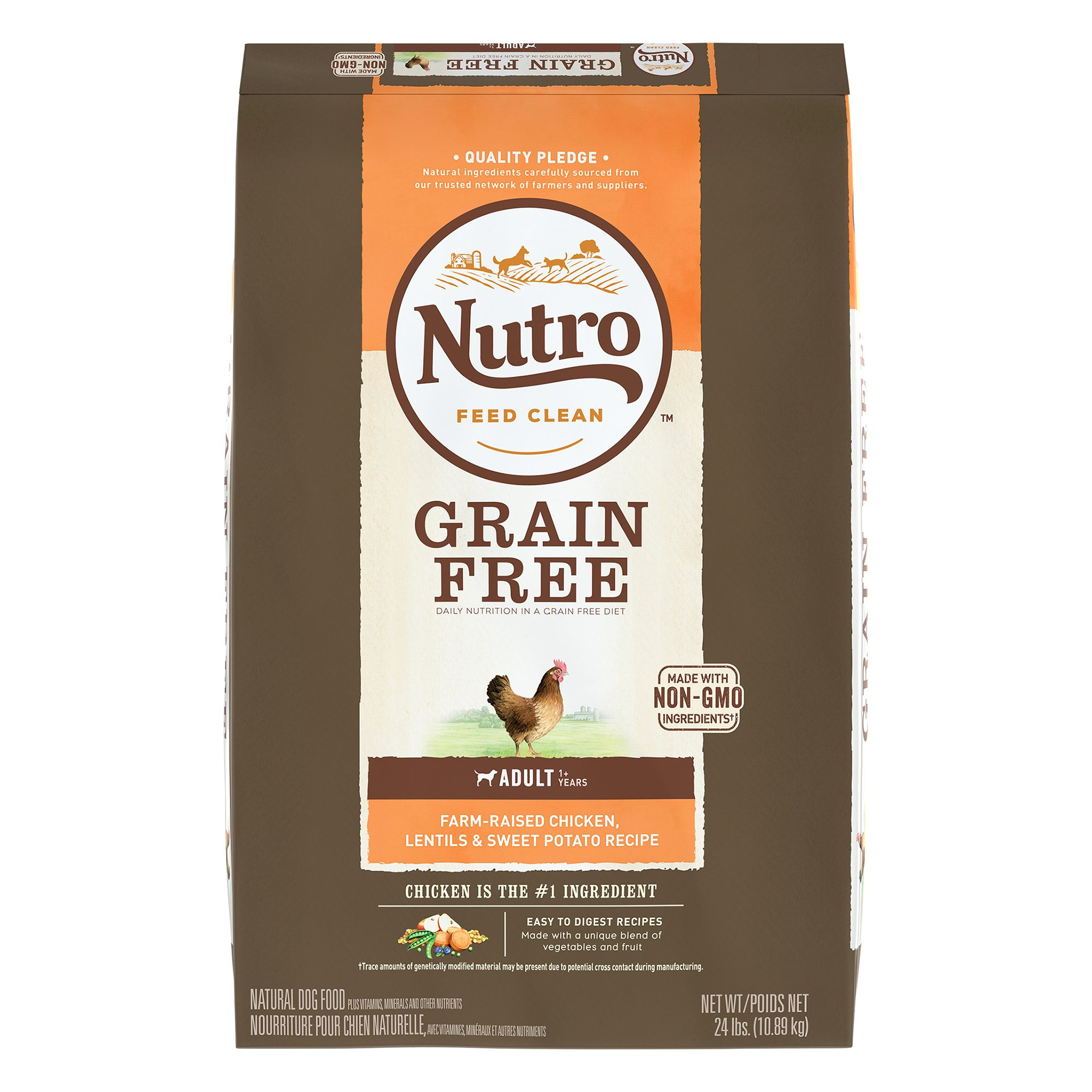 Nutroreg Grain Free Adult Dog Food  Chicken and Lentils size 24 Lb