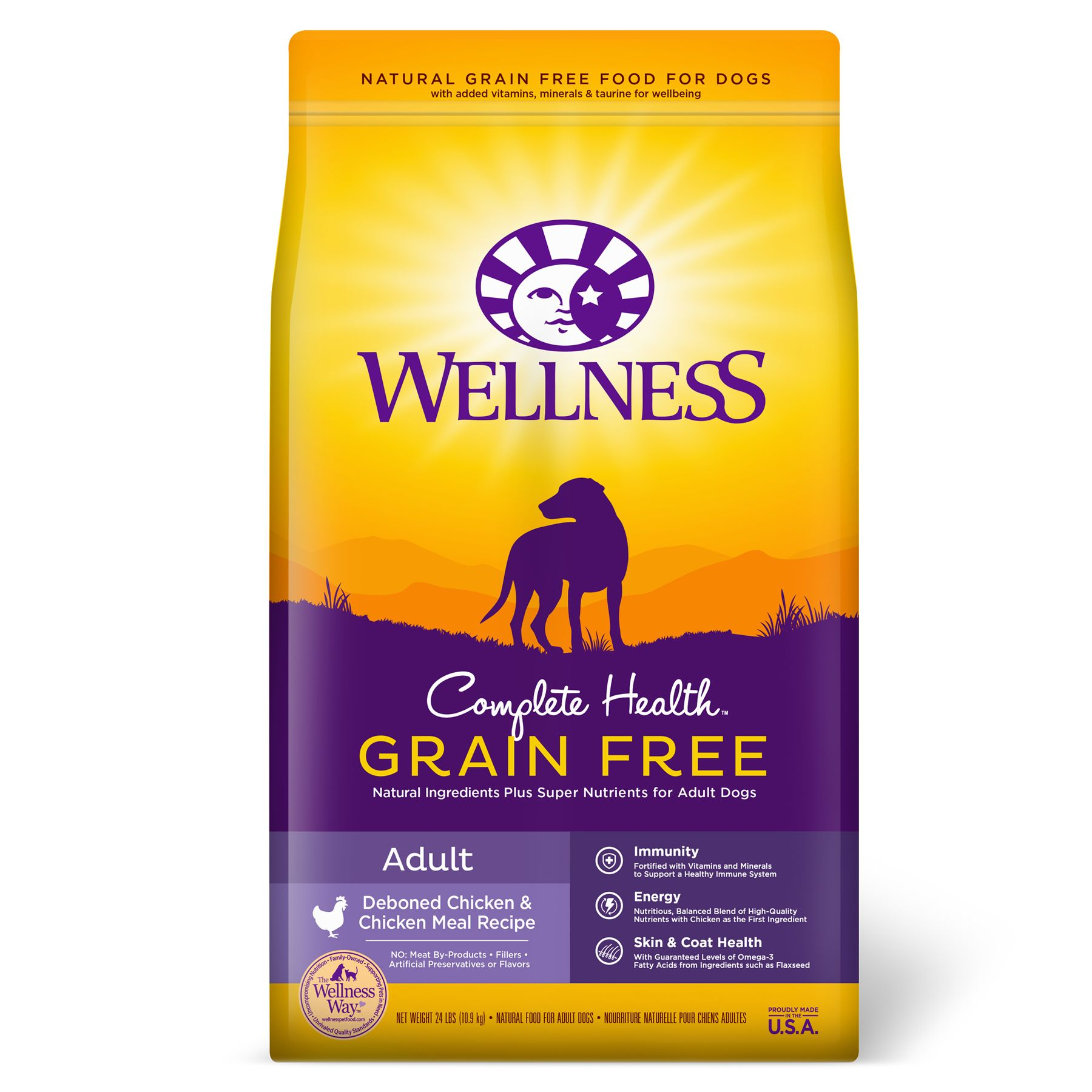 Wellnessreg Complete Health Grain Free Adult Dog Food  Natural Chicken and Chicken Meal size 24 Lb