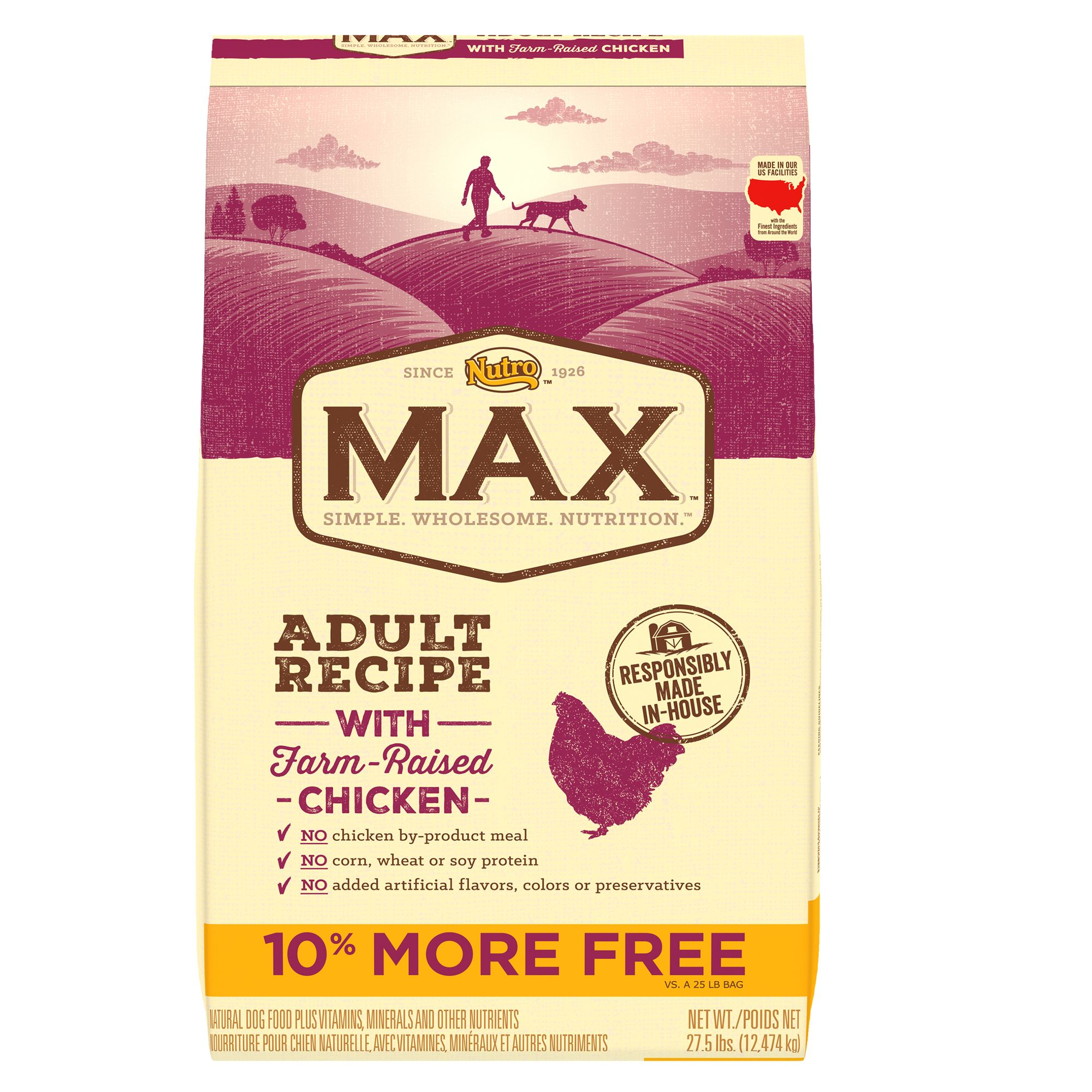 Nutroreg Maxreg Adult Dog Food  Natural Chicken size 27.5 Lb Bonus Bag