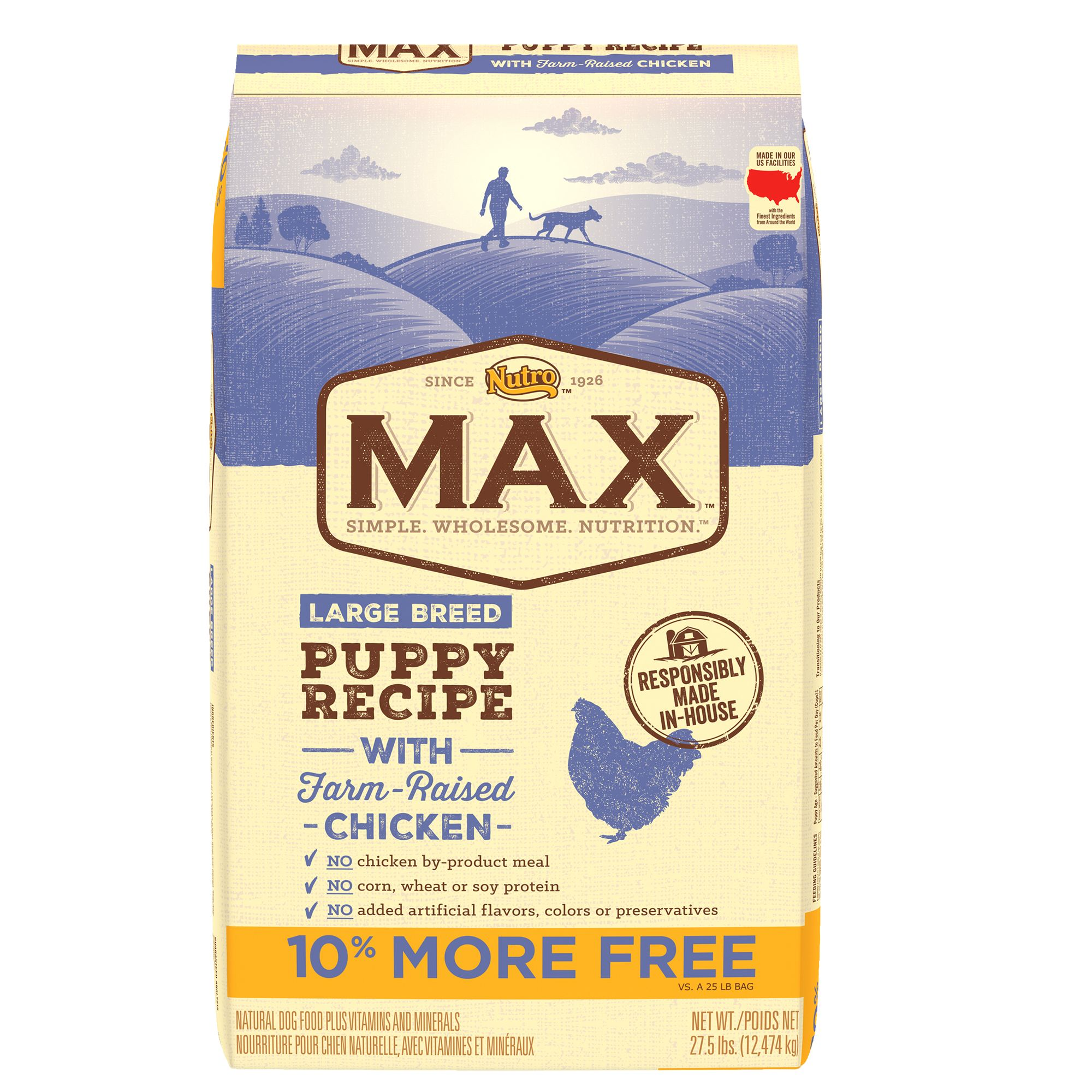 Nutroreg Maxreg Large Breed Puppy Food  Natural Chicken size 27.5 Lb Bonus Bag