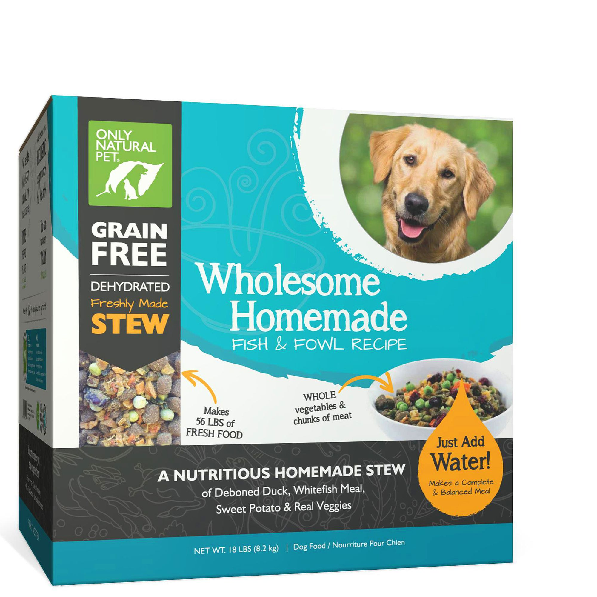 Only Natural Pet Wholesome Homemade Dog Food  Grain Free Dehydrated Fish and Fowl size 18 Lb