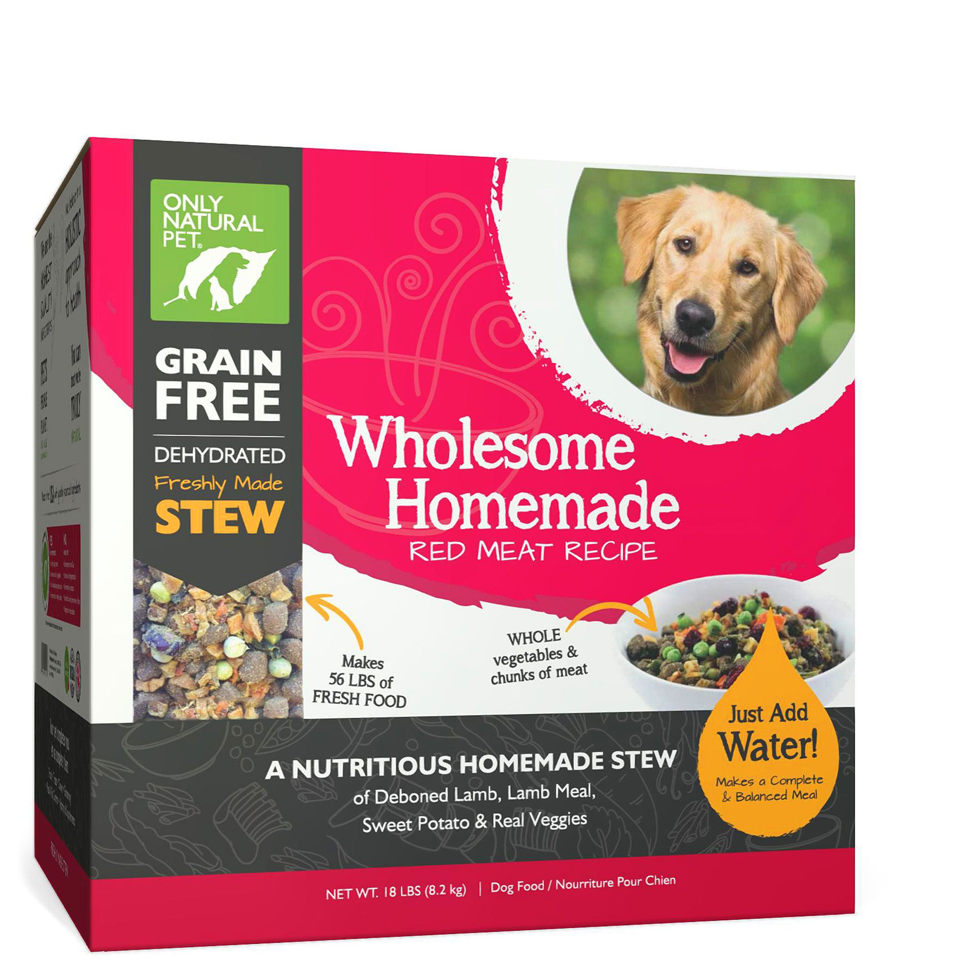 Only Natural Pet Wholesome Homemade Dog Food  Grain Free Dehydrated Red Meat size 18 Lb