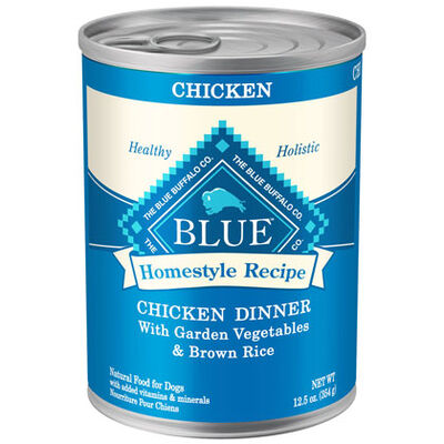 Blue Buffalo Homestyle Recipe Canned Dog Food Chicken & Brown Rice Dinner 12-12.5 oz cans
