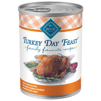 Blue Buffalo Family Favorites Canned Dog Food Turkey Day Feast 12-12.5 oz cans