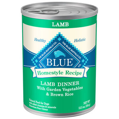 Blue Buffalo Homestyle Recipe Canned Dog Food Lamb & Brown Rice Dinner 12-12.5 oz cans