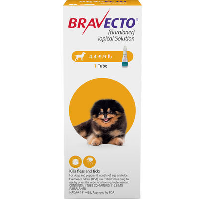 Bravecto Topical for Dogs Toy Dog 4.4-9.9 lbs 2 dose