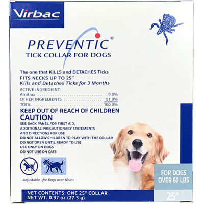 "Preventic Amitraz Tick Collar for Dogs 25"" Over 60 lbs"