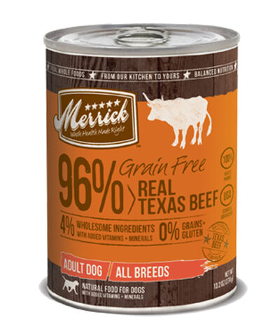 Merrick Grain Free 96% Real Texas Beef Canned Dog Food 12 x 13.2 oz