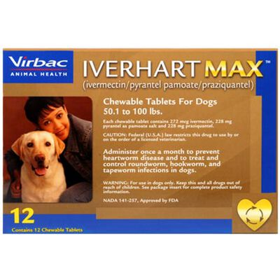Iverhart Max Chewable Tablets For Dogs 50.1-100lbs 12pk