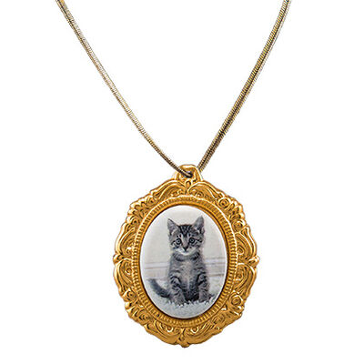 "Pet Photo Porcelain Oval Locket 10K Gold Plated 1-3/16"" X 1-1/2"" B & W"