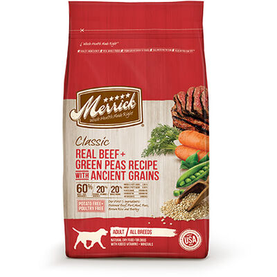 Merrick Classic Dry Dog Food Real Beef + Green Peas Recipe with Ancient Greens 12 lb