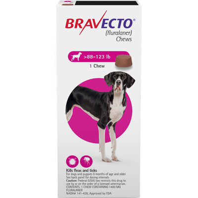 Bravecto Chews 1 Dose Extra Large Dog 88-123 lbs