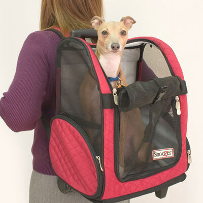 Roll Around Travel Pet Carrier - Med Red/back