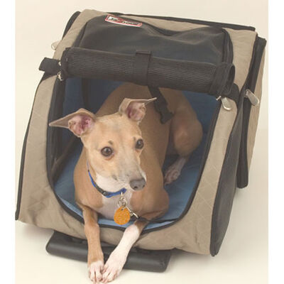 Roll Around Travel Pet Carrier - Large Khaki/blue