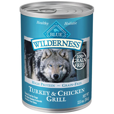 Blue Buffalo Wilderness Canned Dog Food Turkey & Chicken Grill 12-12.5 oz cans
