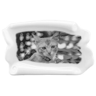 Pet Photo Porcelain Stand Up Collectible Scroll - B & W