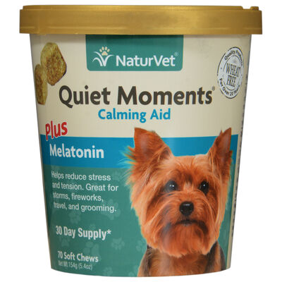 NaturVet Quiet Moments Calming Aid Plus Melatonin Soft Chews 70 ct