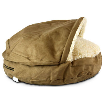 Luxury Cozy Cave Pet Bed - Large Camel