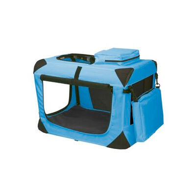 Deluxe Portable Soft Dog Crate Ocean Blue 21""