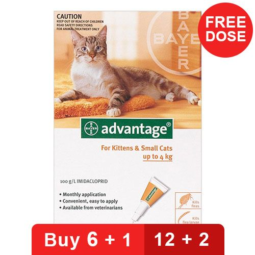 Advantage Kittens & Small Cats 1-10lbs 12 + 2 Doses Free