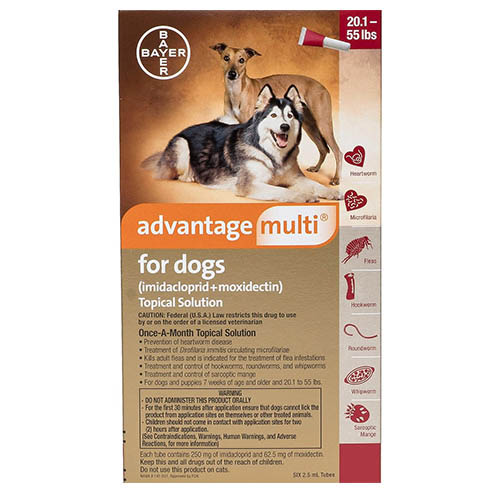 Advantage Multi Advocate Large Dogs 20.1-55 Lbs Red 6 Doses