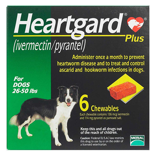 Heartgard Plus Chewables For Medium Dogs 26-50lbs Green 12 Doses