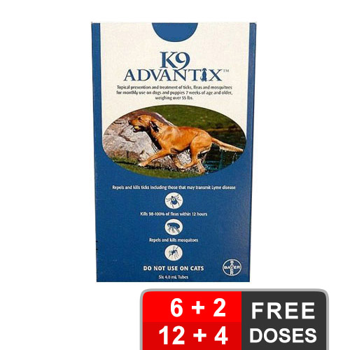 K9 Advantix Extra Large Dogs Over 55 Lbs Blue 6 + 2 Free