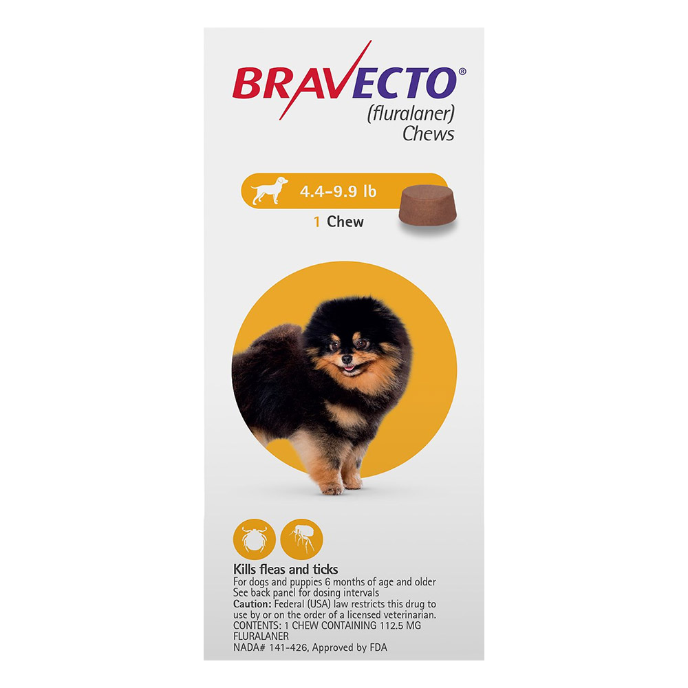 Bravecto For Toy Dogs 4.4 To 9.9 Lbs Yellow 2 Chews