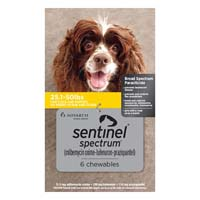 Sentinel Spectrum Yellow For Dogs 25.1-50 Lbs 6 Chews