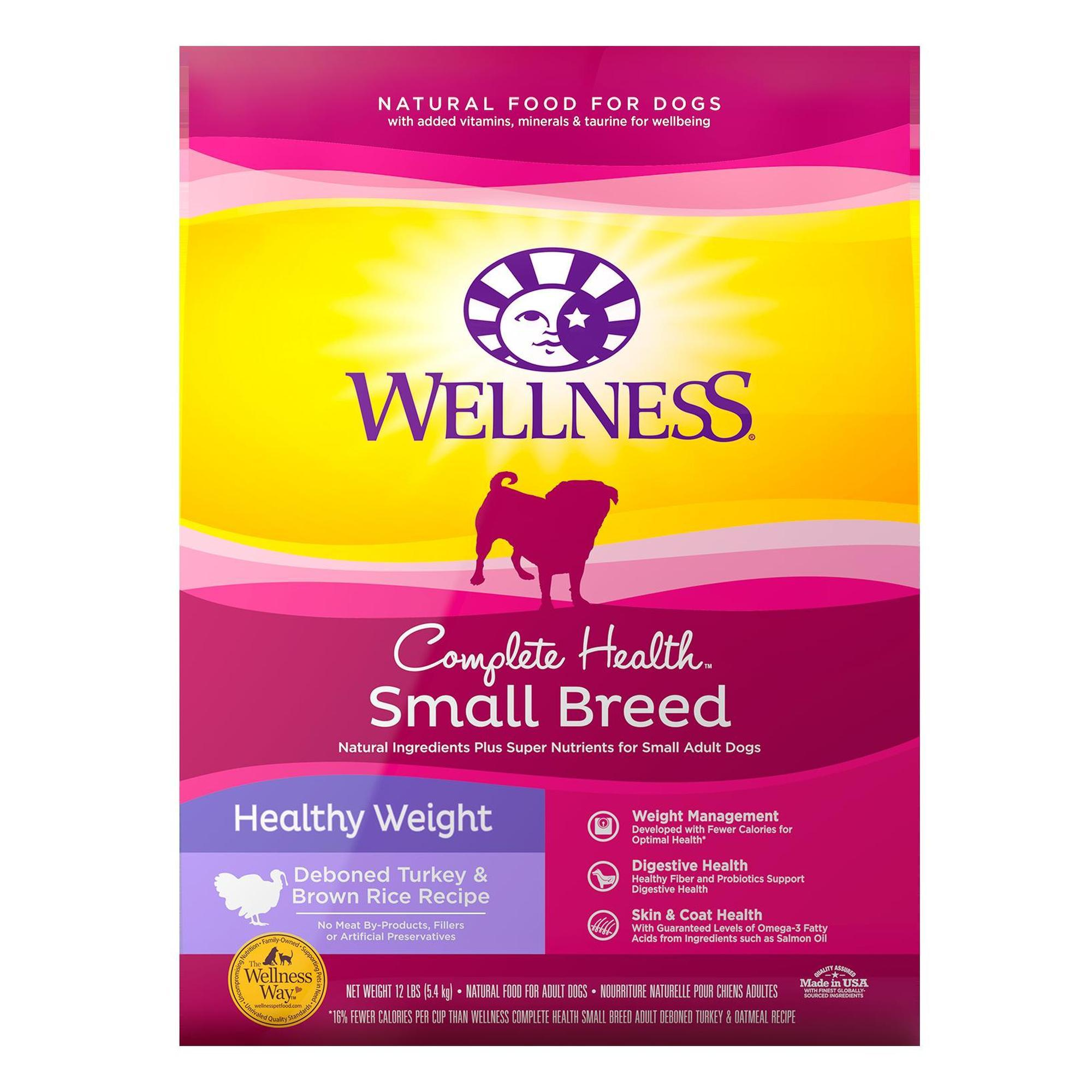 Wellness Complete Health Natural Small Breed Healthy Weight Recipe Dry Dog Food, 12 lbs.