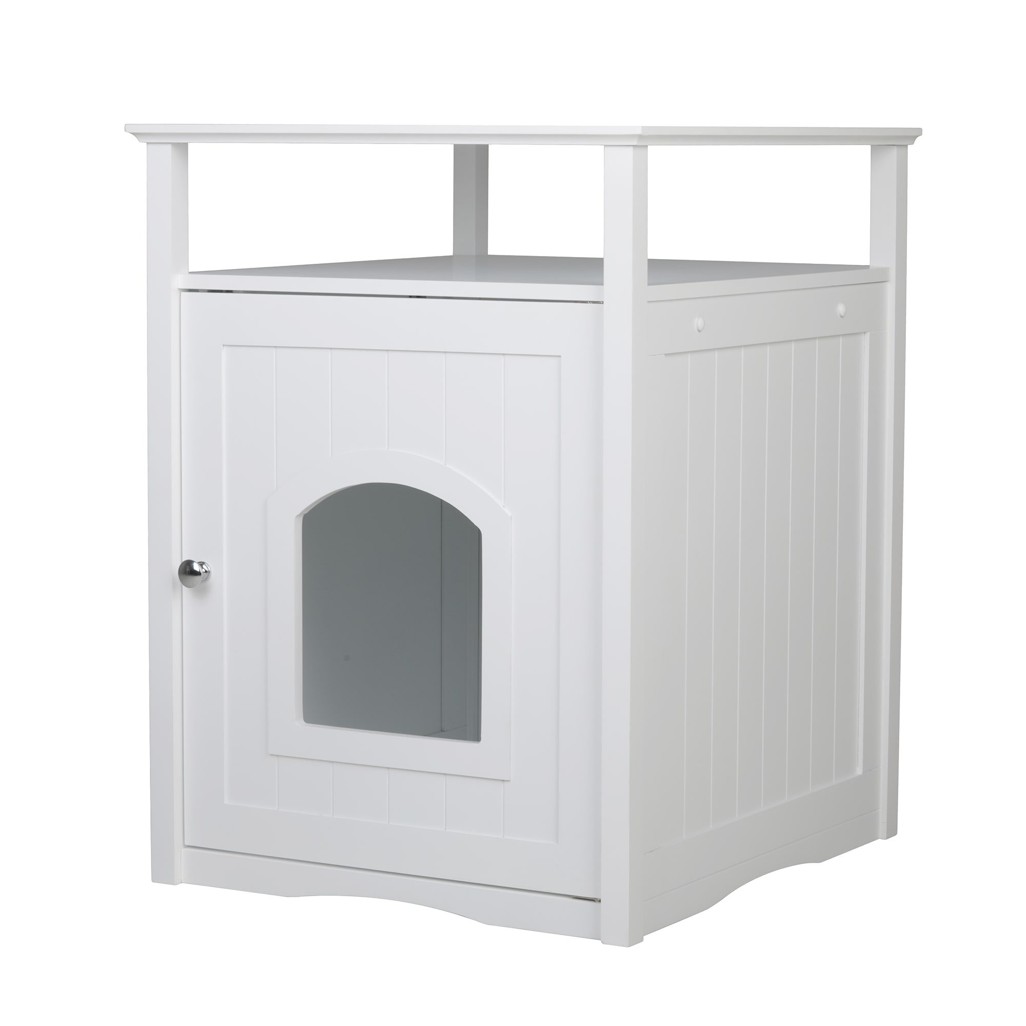 Zoovilla Cat Washroom Night Stand & Pet House in White, Standard