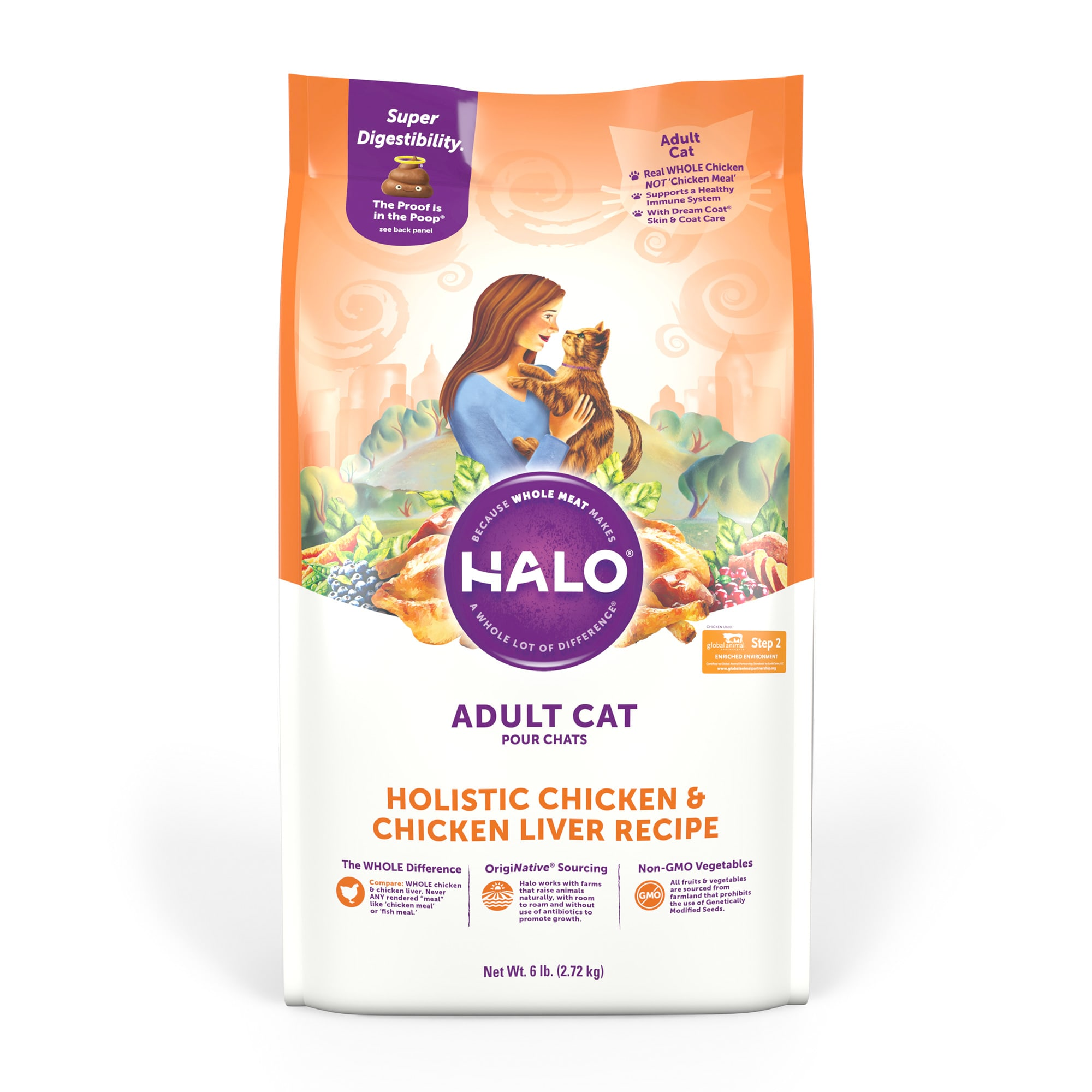 Halo Adult Holistic Chicken & Chicken Liver Dry Cat Food, 6 lbs