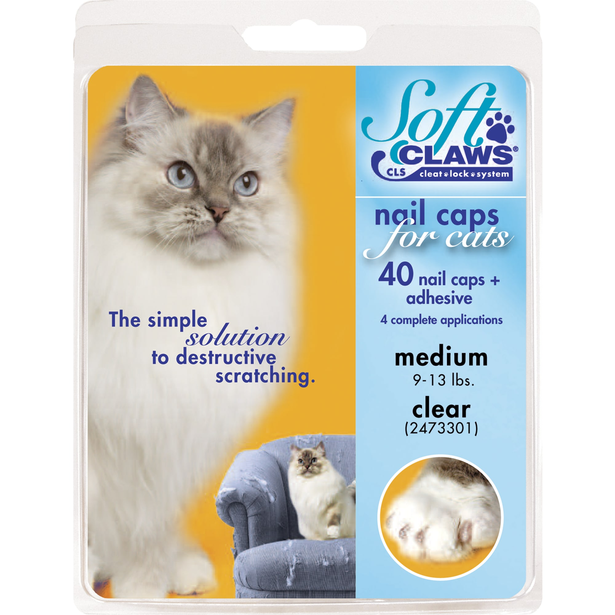Soft Claws Cat Nail Caps, Medium, Clear