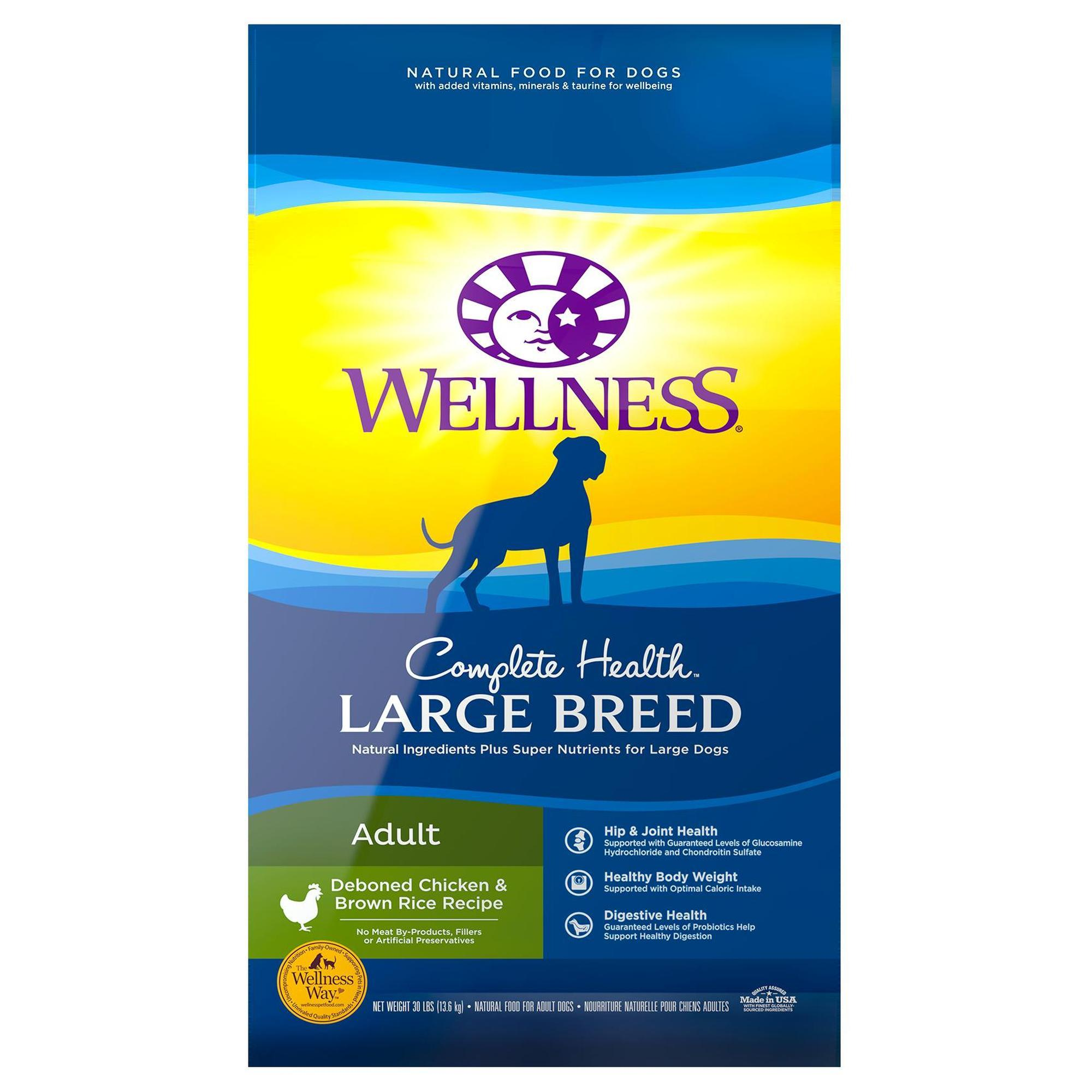 Wellness Complete Health Natural Large Breed Health Recipe Dry Dog Food, 30 lbs.