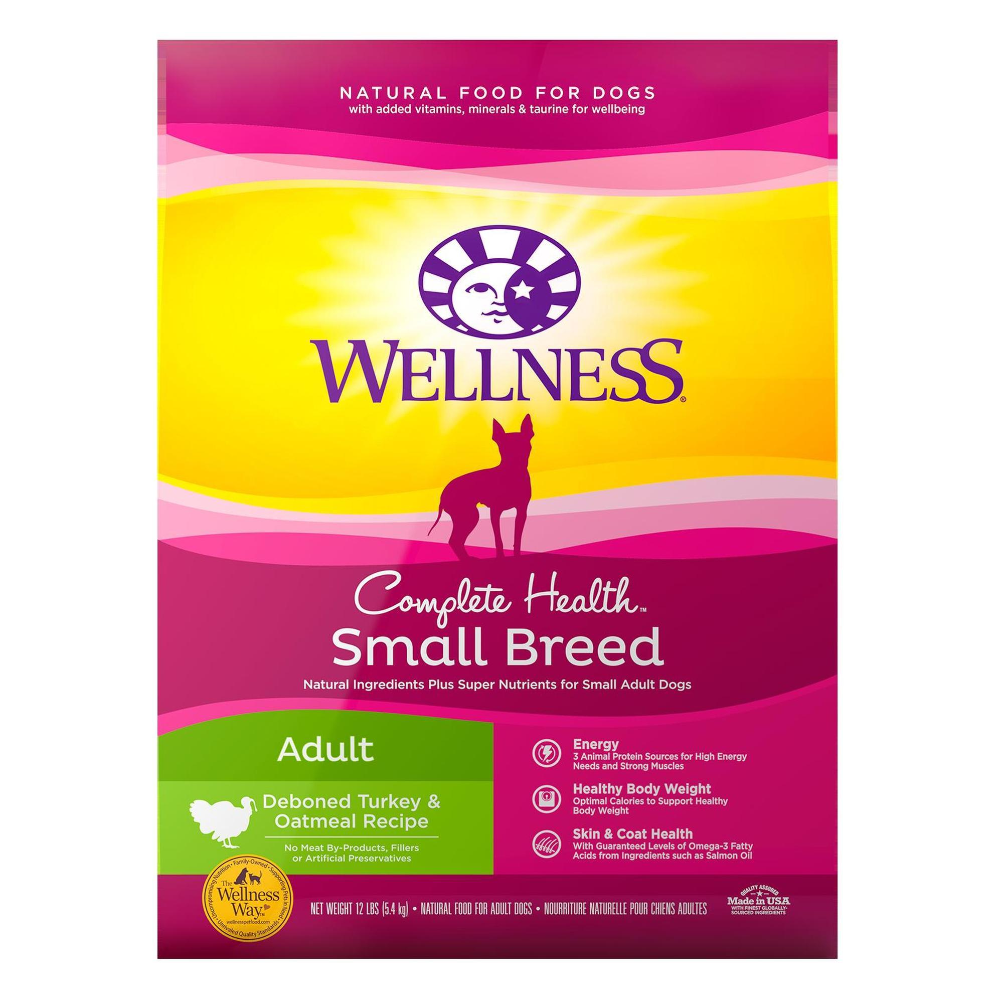 Wellness Complete Health Natural Small Breed Turkey and Oatmeal Recipe Dry Dog Food, 12 lbs.