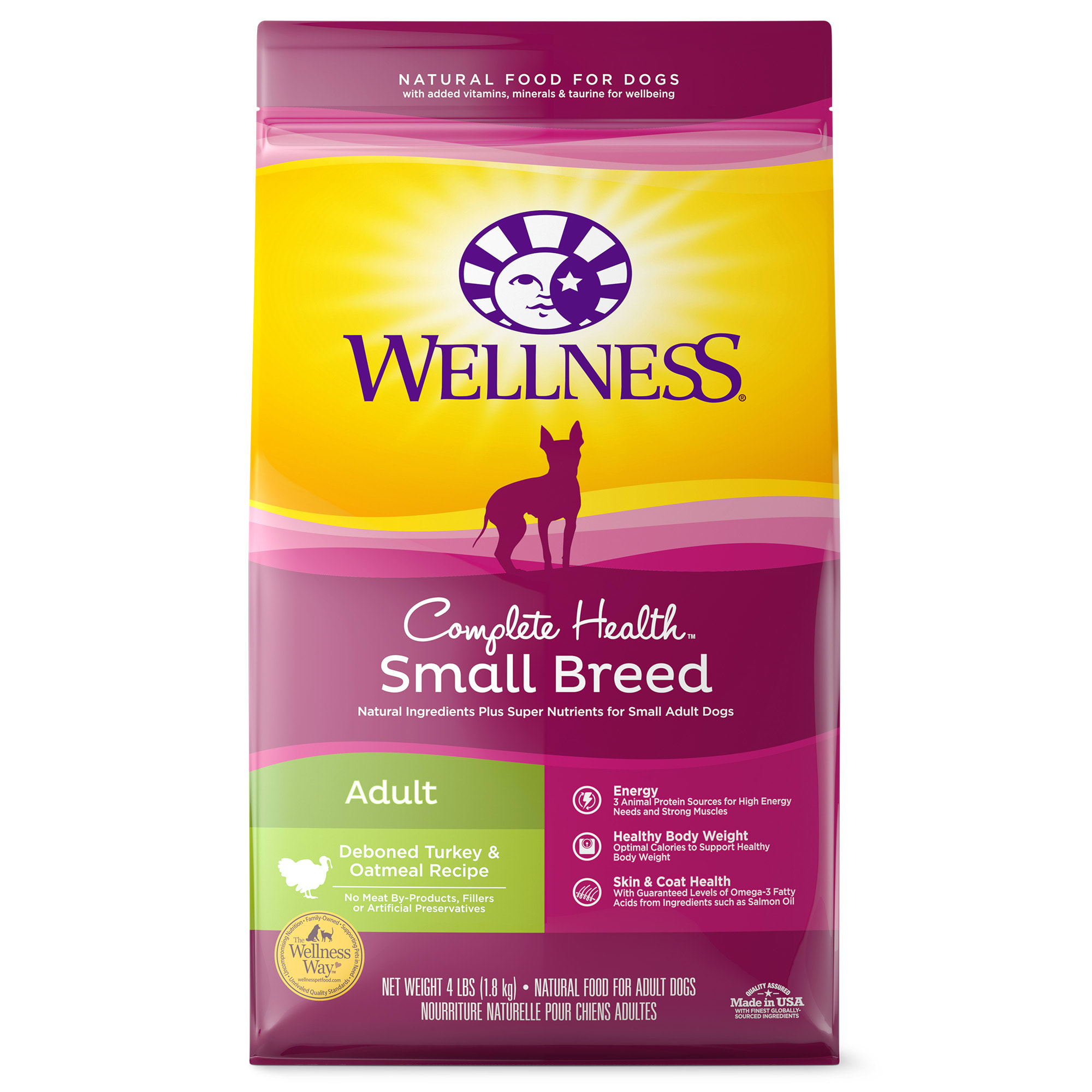 Wellness Complete Health Natural Small Breed Turkey and Oatmeal Recipe Dry Dog Food, 4 lbs.