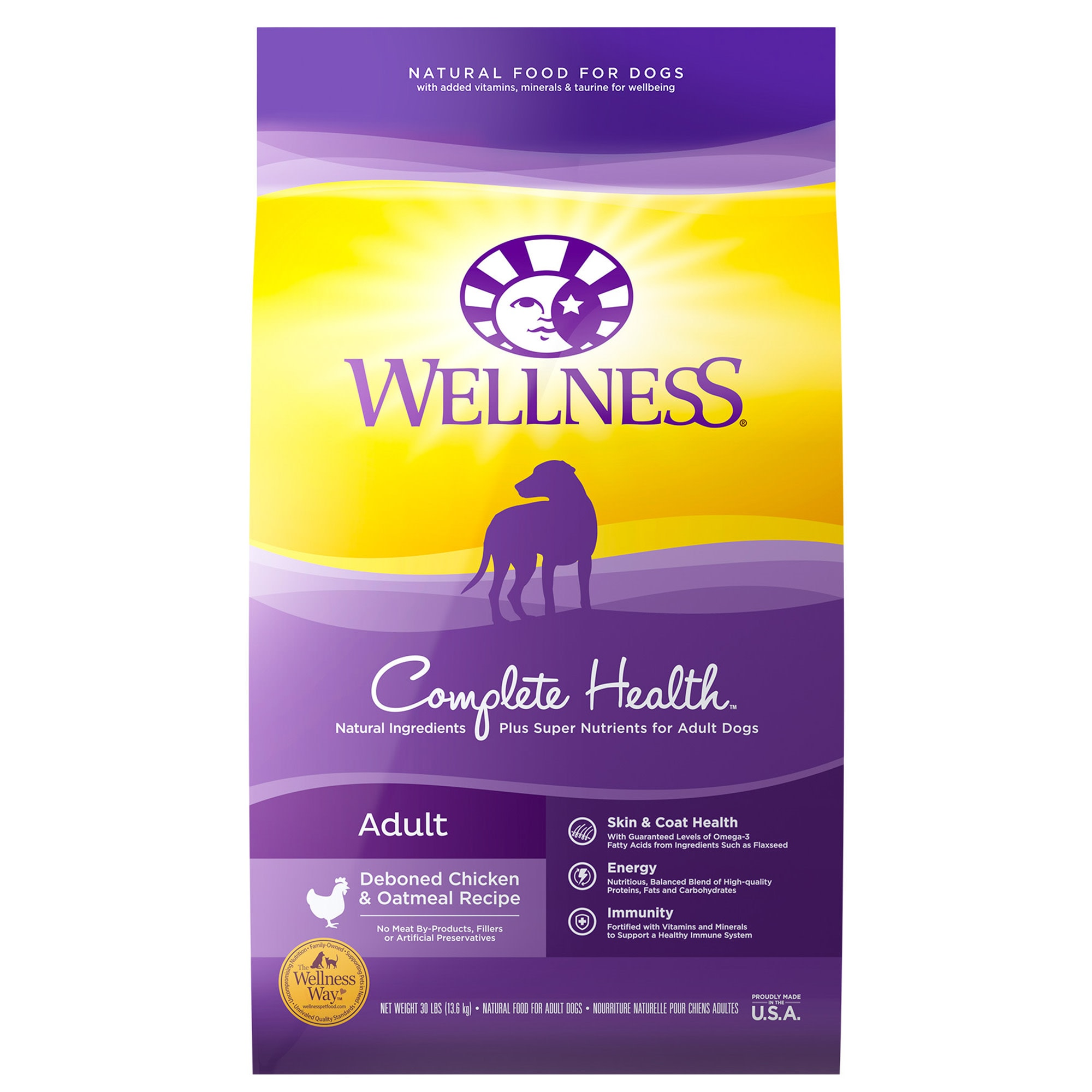 Wellness Complete Health Natural Chicken Recipe Dry Dog Food, 30 lbs.