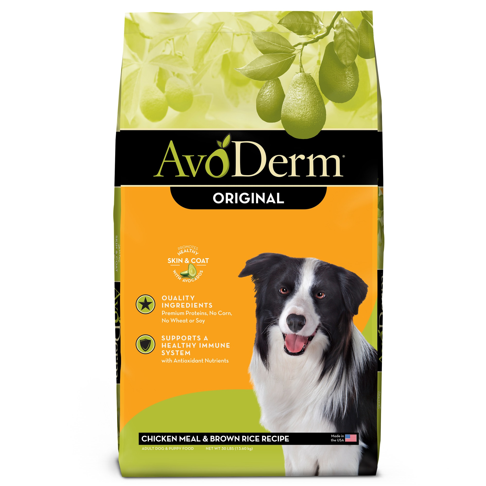 AvoDerm Natural Chicken Meal & Brown Rice Formula Dry Dog Food, 30 lbs.