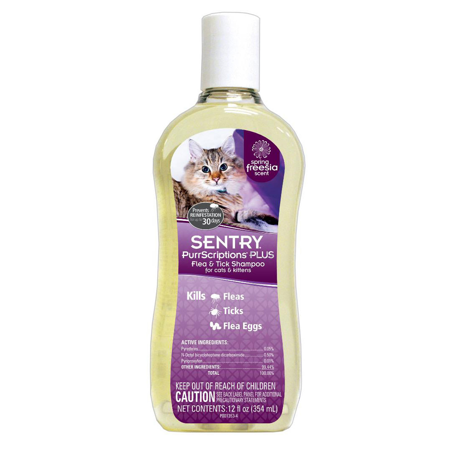 Sentry PurrScriptions Plus Flea & Tick Shampoo for Cats & Kittens, 12-ounce