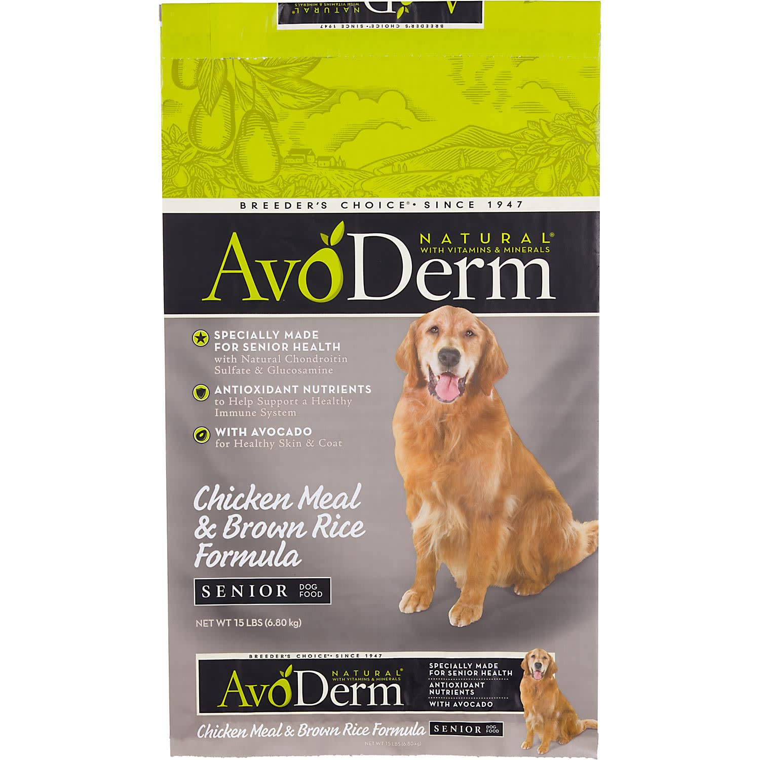 AvoDerm Natural Senior Chicken Meal & Brown Rice Formula Dry Dog Food, 26 lbs.
